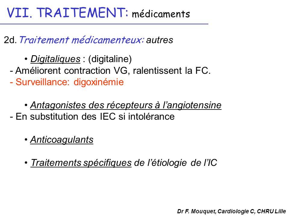 Digitaliques : (digitaline) - Améliorent contraction VG, ralentissent la FC. - Surveillance: digoxinémie Antagonistes des récepteurs à langiotensine -