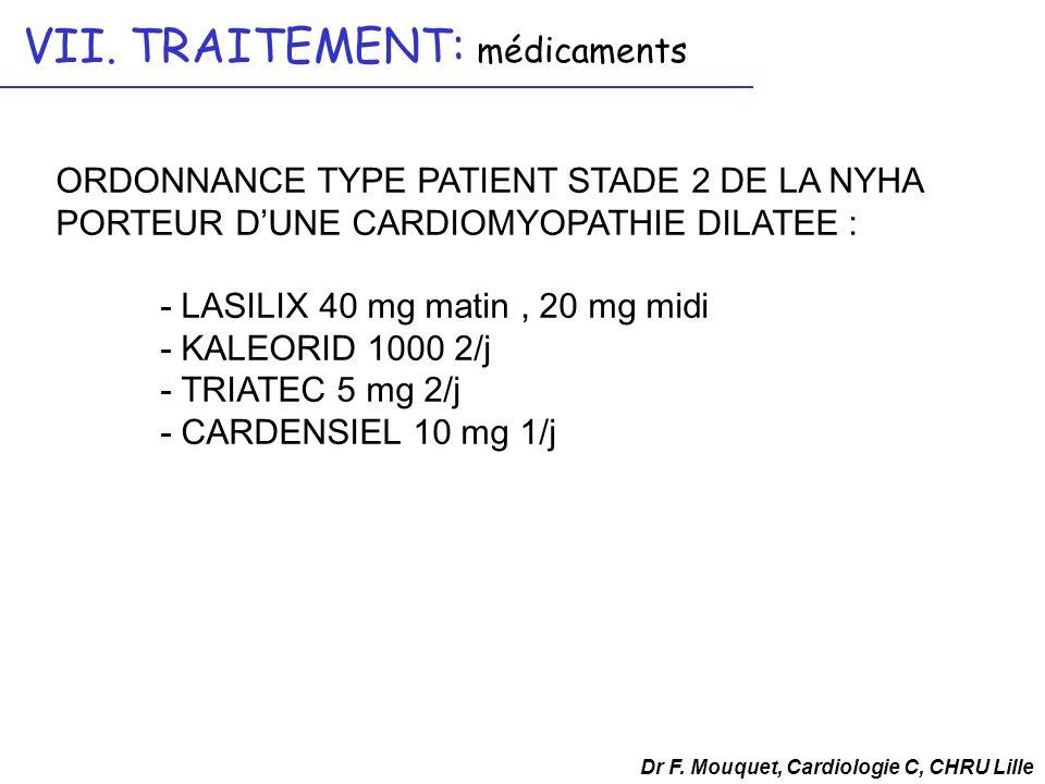 ORDONNANCE TYPE PATIENT STADE 2 DE LA NYHA PORTEUR DUNE CARDIOMYOPATHIE DILATEE : - LASILIX 40 mg matin, 20 mg midi - KALEORID 1000 2/j - TRIATEC 5 mg