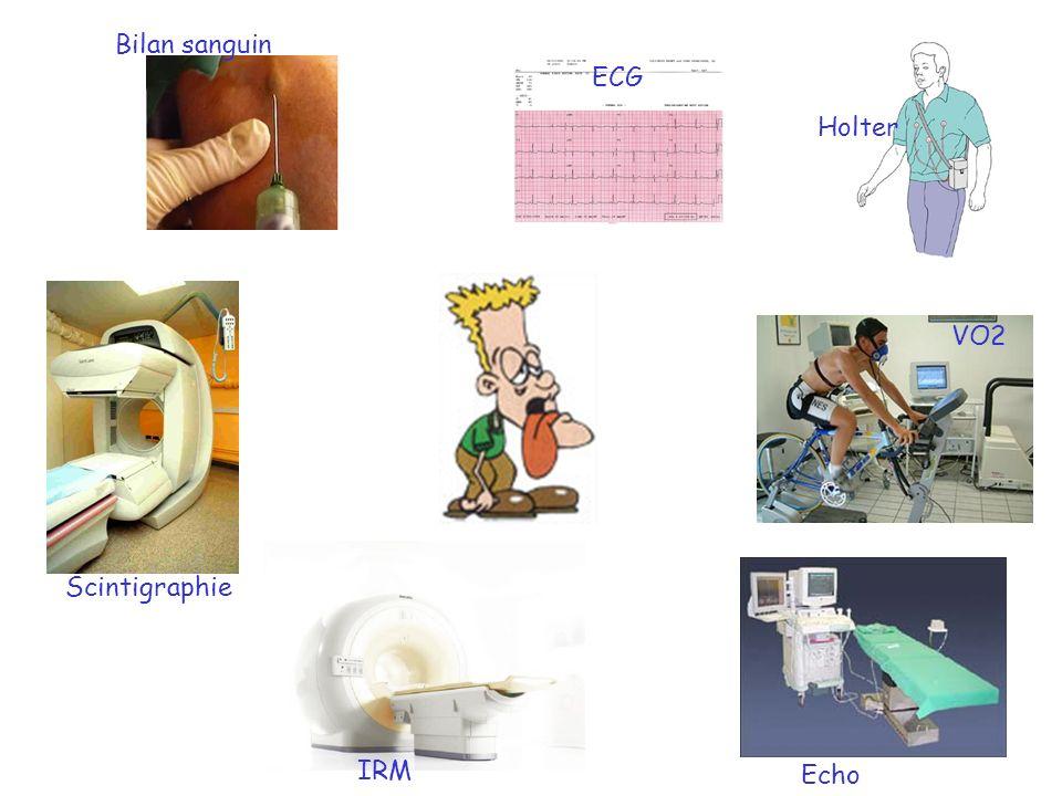 Bilan sanguin ECG IRM Echo VO2 Holter Scintigraphie