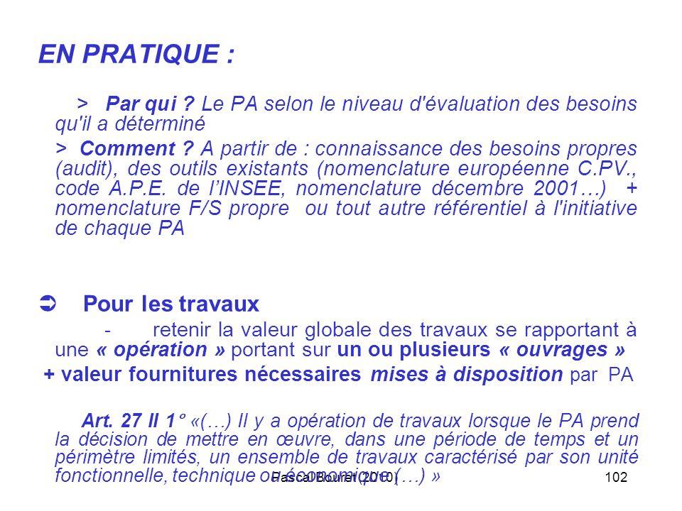 Pascal Bouret (2010)102 EN PRATIQUE : > Par qui ? Le PA selon le niveau d'évaluation des besoins qu'il a déterminé > Comment ? A partir de : connaissa