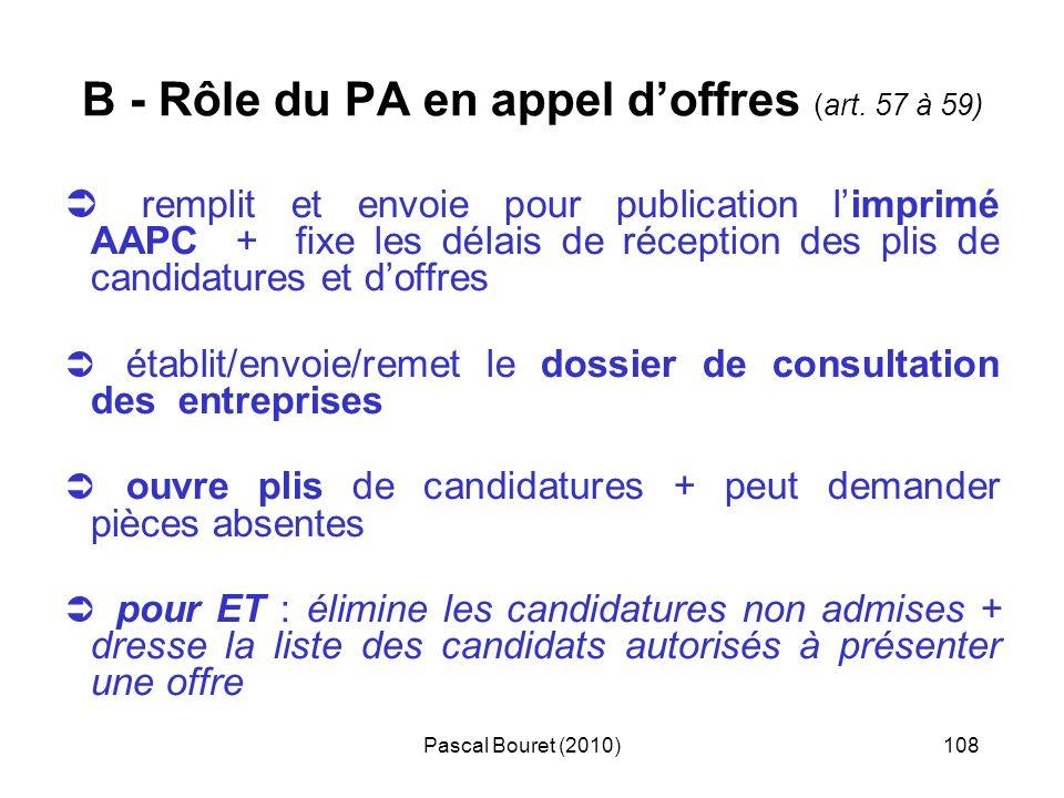 Pascal Bouret (2010)108 B - Rôle du PA en appel doffres (art. 57 à 59) remplit et envoie pour publication limprimé AAPC + fixe les délais de réception