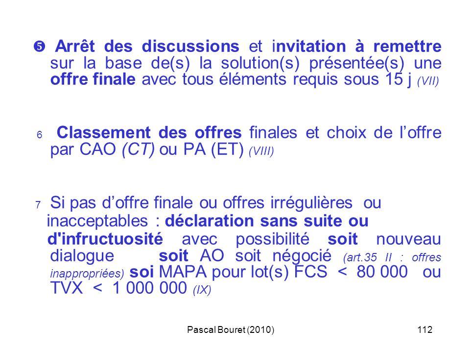 Pascal Bouret (2010)112 Arrêt des discussions et invitation à remettre sur la base de(s) la solution(s) présentée(s) une offre finale avec tous élémen