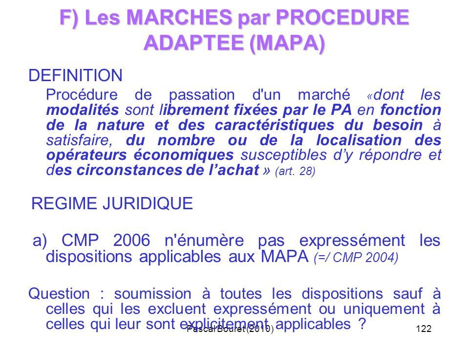 Pascal Bouret (2010)122 F) Les MARCHES par PROCEDURE ADAPTEE (MAPA) DEFINITION Procédure de passation d'un marché « dont les modalités sont librement