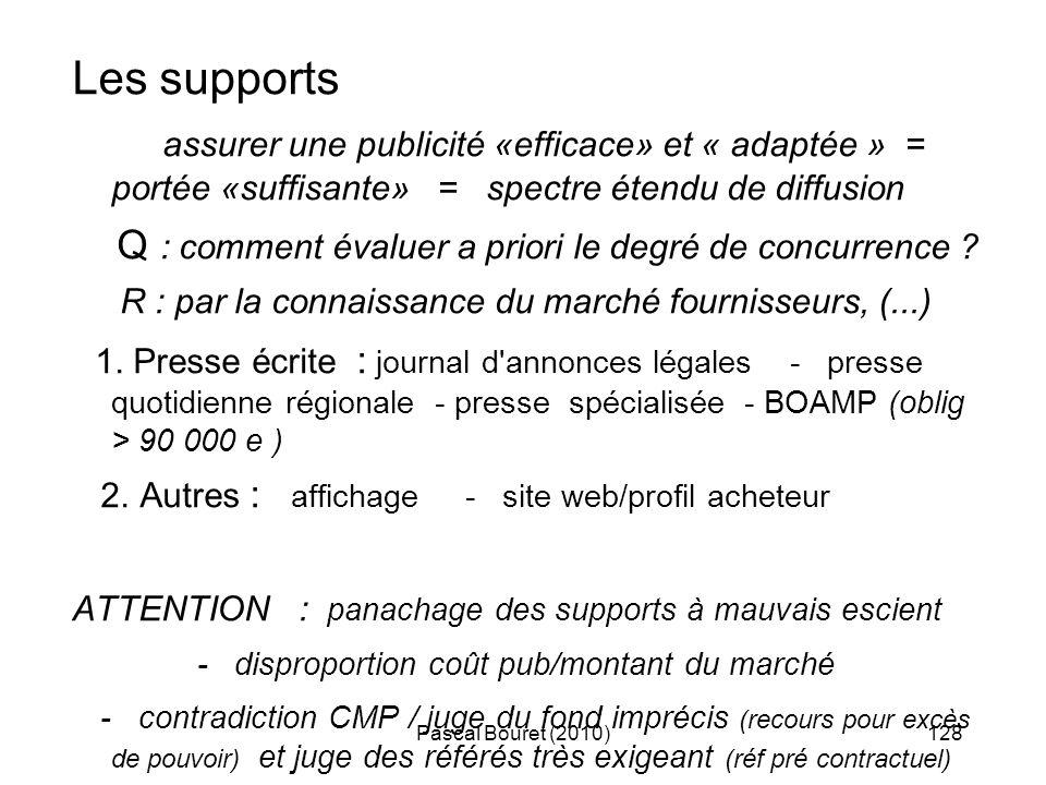 Pascal Bouret (2010)128 Les supports assurer une publicité «efficace» et « adaptée » = portée «suffisante» = spectre étendu de diffusion Q : comment é