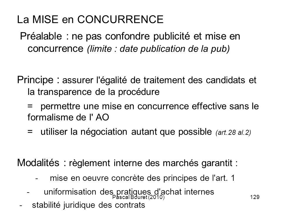 Pascal Bouret (2010)129 La MISE en CONCURRENCE Préalable : ne pas confondre publicité et mise en concurrence (limite : date publication de la pub) Pri