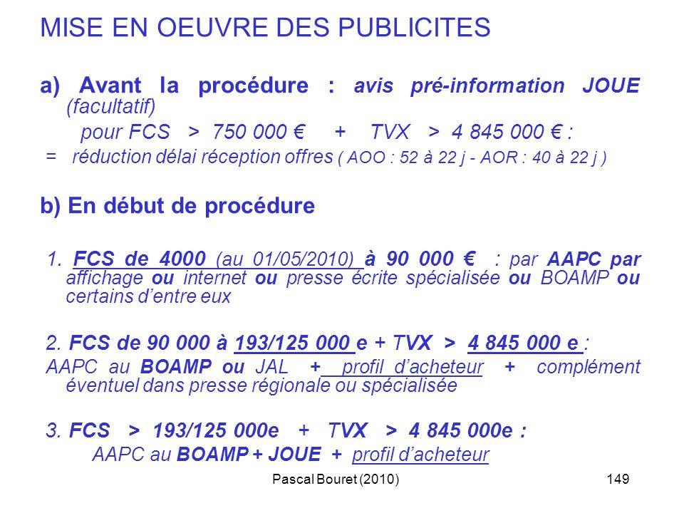 Pascal Bouret (2010)149 MISE EN OEUVRE DES PUBLICITES a) Avant la procédure : avis pré-information JOUE (facultatif) pour FCS > 750 000 + TVX > 4 845