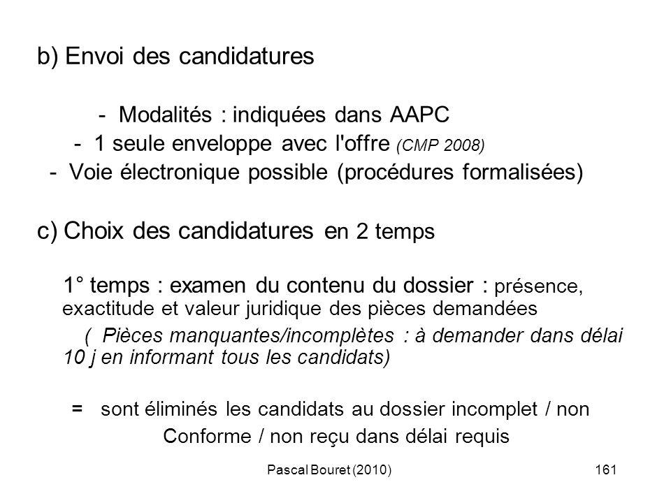 Pascal Bouret (2010)161 b) Envoi des candidatures - Modalités : indiquées dans AAPC - 1 seule enveloppe avec l'offre (CMP 2008) - Voie électronique po