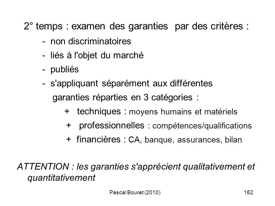 Pascal Bouret (2010)162 2° temps : examen des garanties par des critères : - non discriminatoires - liés à l'objet du marché - publiés - s'appliquant