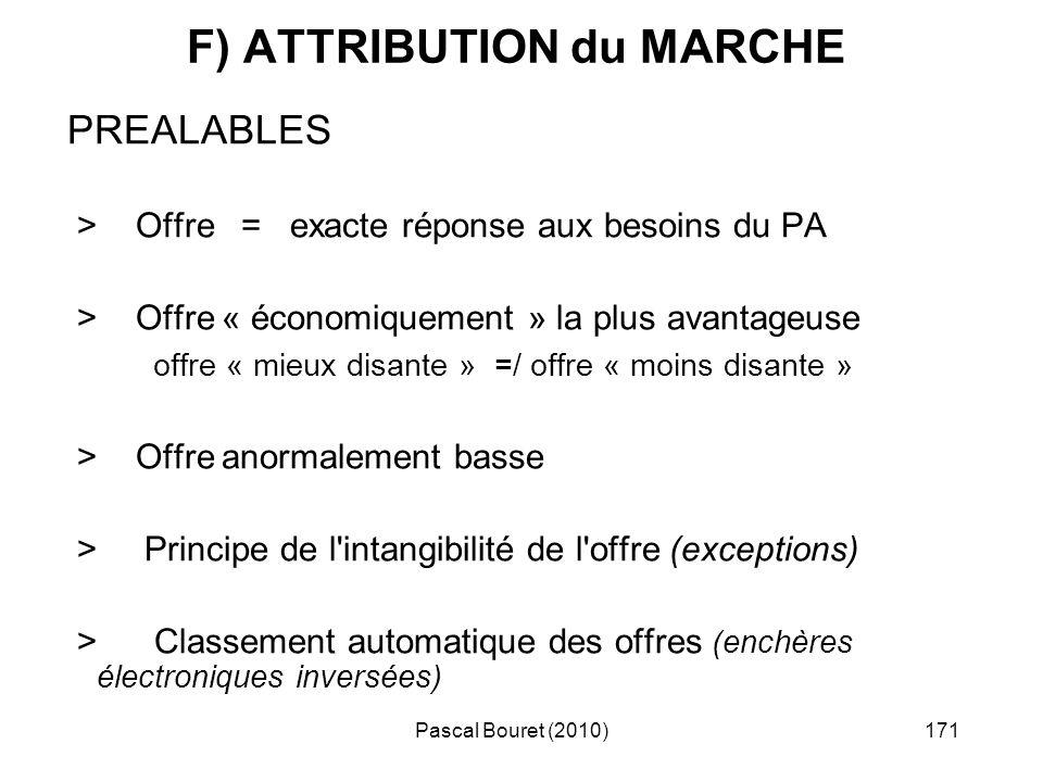 Pascal Bouret (2010)171 F) ATTRIBUTION du MARCHE PREALABLES > Offre = exacte réponse aux besoins du PA > Offre « économiquement » la plus avantageuse