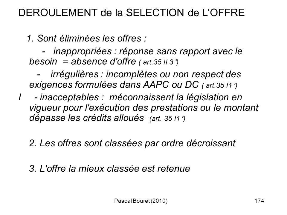 Pascal Bouret (2010)174 DEROULEMENT de la SELECTION de L'OFFRE 1. Sont éliminées les offres : - inappropriées : réponse sans rapport avec le besoin =