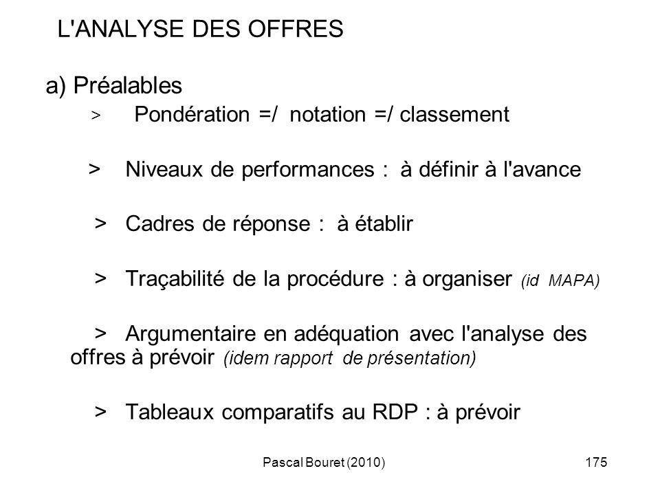 Pascal Bouret (2010)175 L'ANALYSE DES OFFRES a) Préalables > Pondération =/ notation =/ classement > Niveaux de performances : à définir à l'avance >