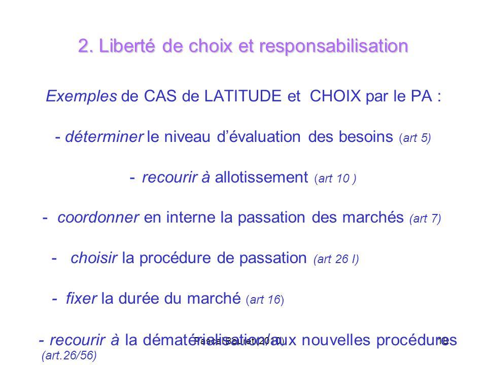 Pascal Bouret (2010)18 2. Liberté de choix et responsabilisation Exemples de CAS de LATITUDE et CHOIX par le PA : - déterminer le niveau dévaluation d