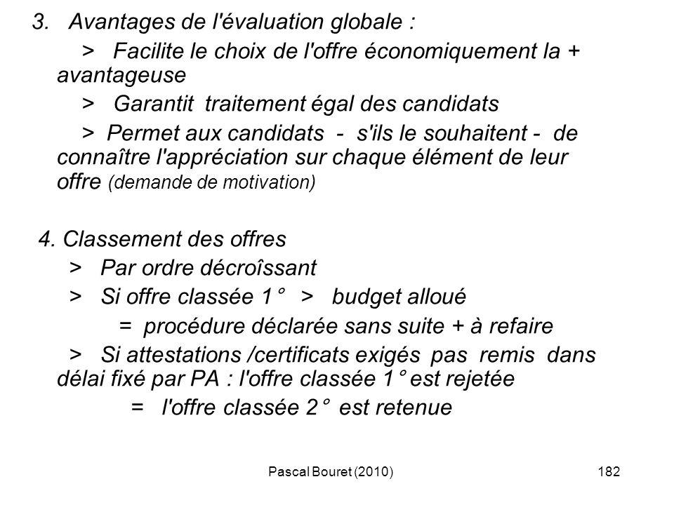 Pascal Bouret (2010)182 3. Avantages de l'évaluation globale : > Facilite le choix de l'offre économiquement la + avantageuse > Garantit traitement ég