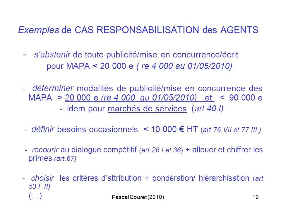 Pascal Bouret (2010)19 Exemples de CAS RESPONSABILISATION des AGENTS - s'abstenir de toute publicité/mise en concurrence/écrit pour MAPA < 20 000 e (