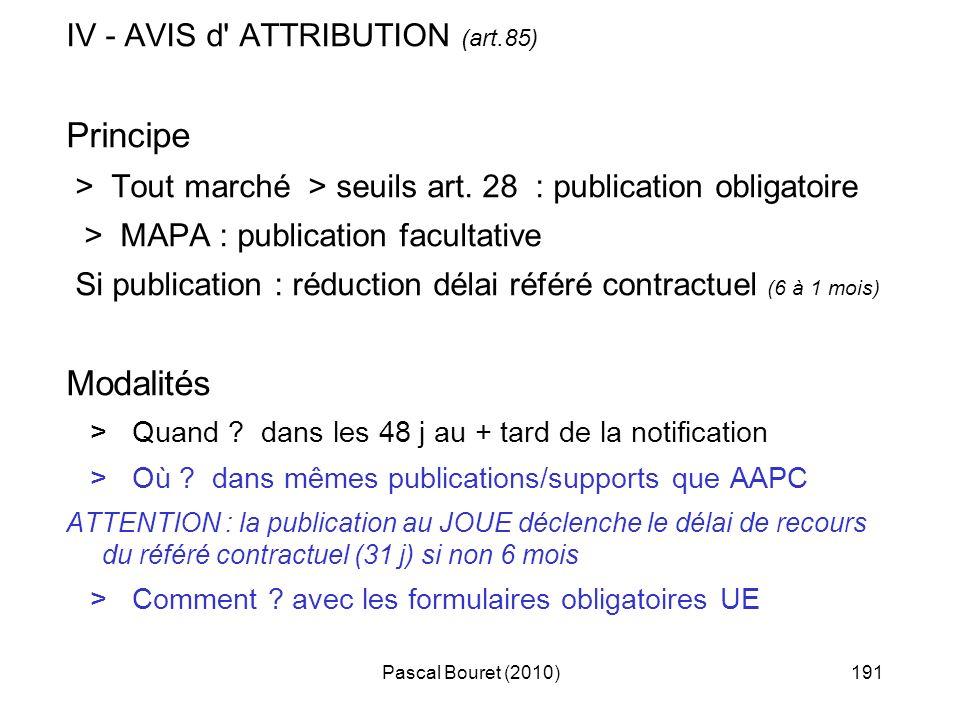 Pascal Bouret (2010)191 IV - AVIS d' ATTRIBUTION (art.85) Principe > Tout marché > seuils art. 28 : publication obligatoire > MAPA : publication facul