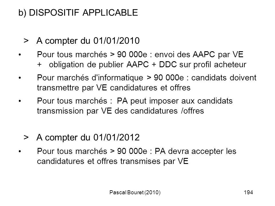 Pascal Bouret (2010)194 b) DISPOSITIF APPLICABLE > A compter du 01/01/2010 Pour tous marchés > 90 000e : envoi des AAPC par VE + obligation de publier