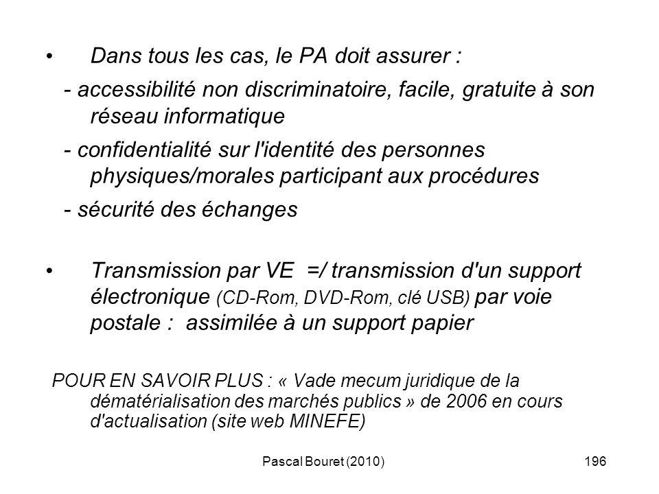 Pascal Bouret (2010)196 Dans tous les cas, le PA doit assurer : - accessibilité non discriminatoire, facile, gratuite à son réseau informatique - conf