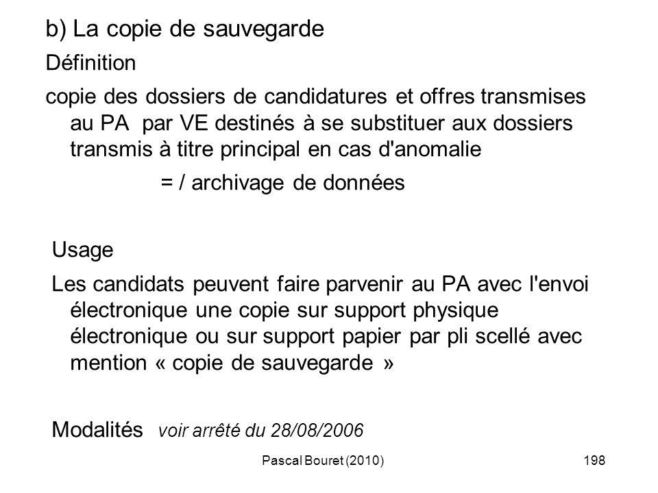 Pascal Bouret (2010)198 b) La copie de sauvegarde Définition copie des dossiers de candidatures et offres transmises au PA par VE destinés à se substi