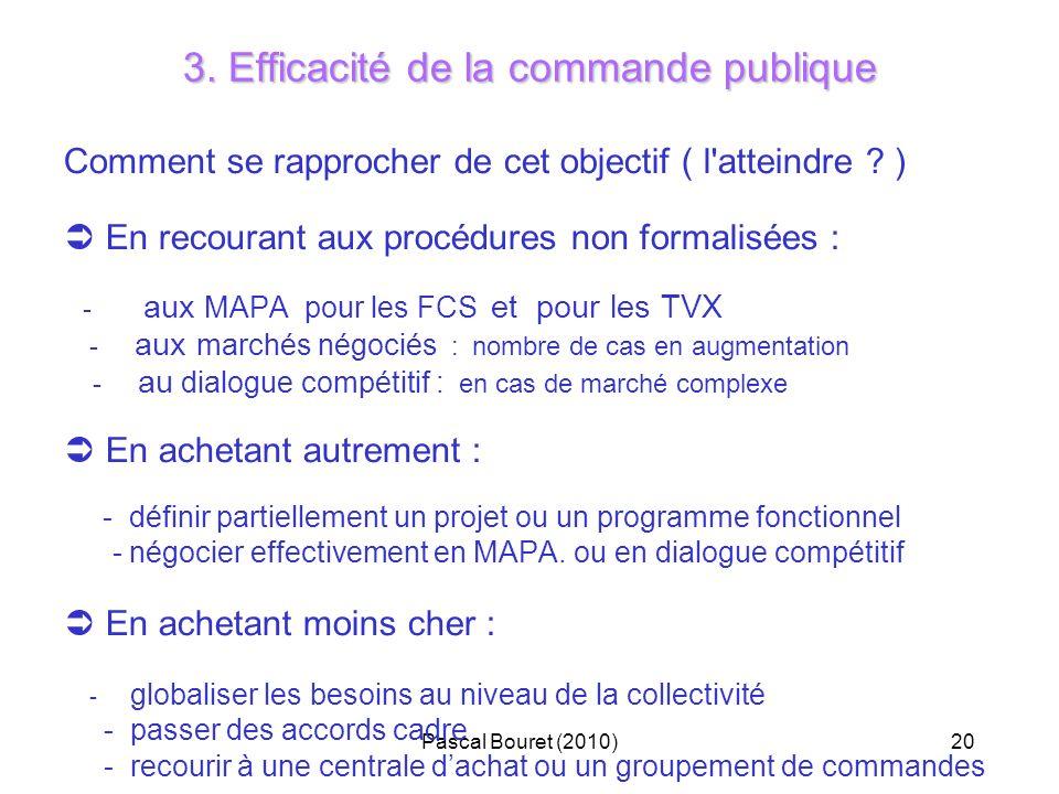 Pascal Bouret (2010)20 3. Efficacité de la commande publique Comment se rapprocher de cet objectif ( l'atteindre ? ) En recourant aux procédures non f