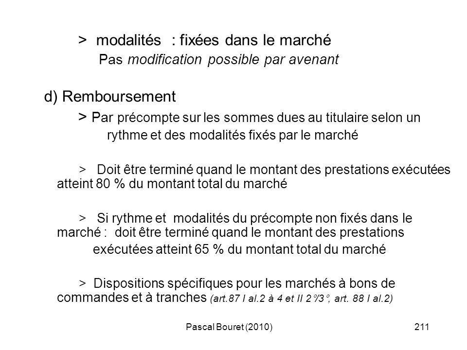 Pascal Bouret (2010)211 > modalités : fixées dans le marché Pas modification possible par avenant d) Remboursement > Par précompte sur les sommes dues