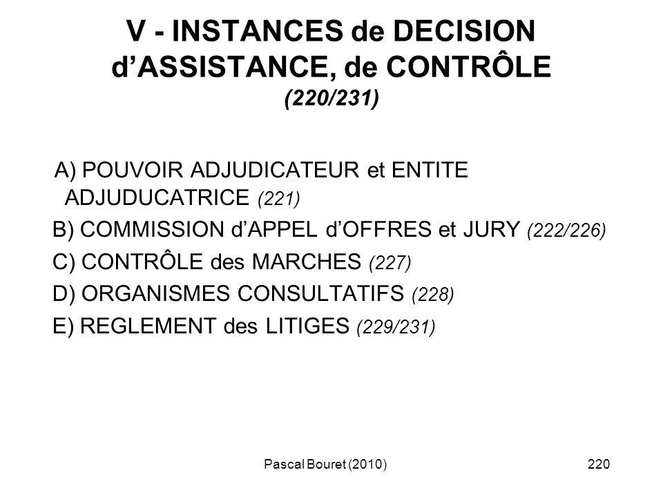 Pascal Bouret (2010)220 V - INSTANCES de DECISION dASSISTANCE, de CONTRÔLE (220/231) A) POUVOIR ADJUDICATEUR et ENTITE ADJUDUCATRICE (221) B) COMMISSI