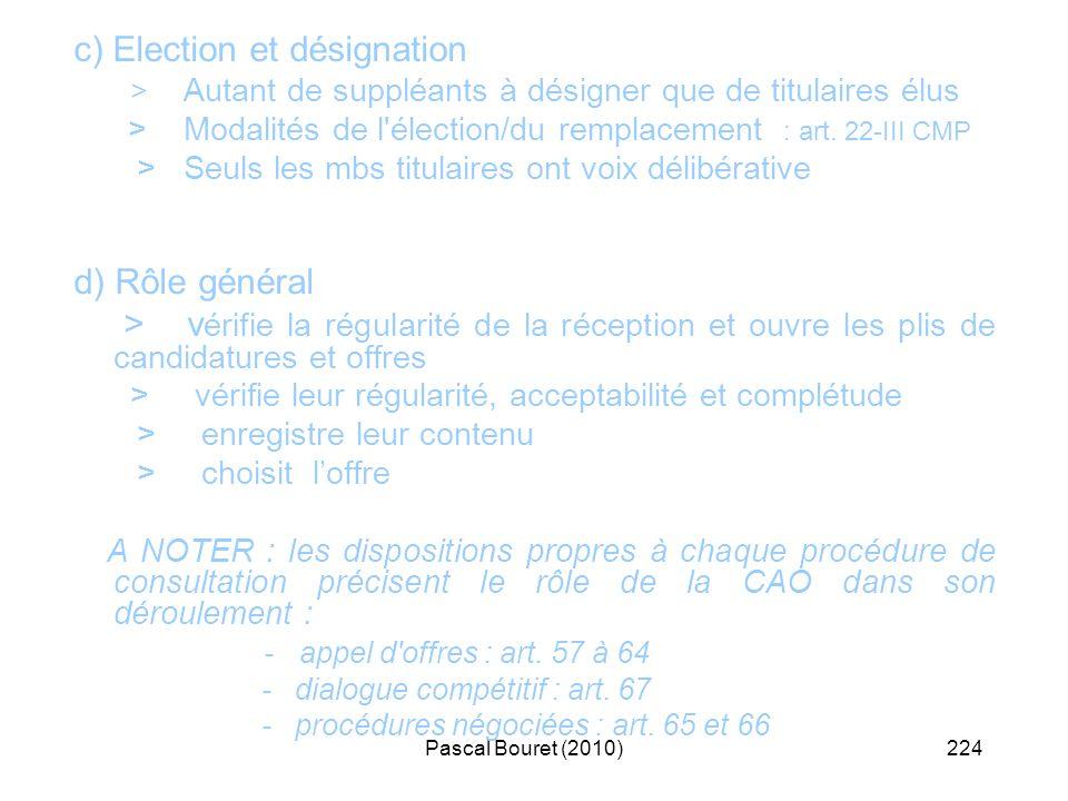 Pascal Bouret (2010)224 c) Election et désignation > Autant de suppléants à désigner que de titulaires élus > Modalités de l'élection/du remplacement