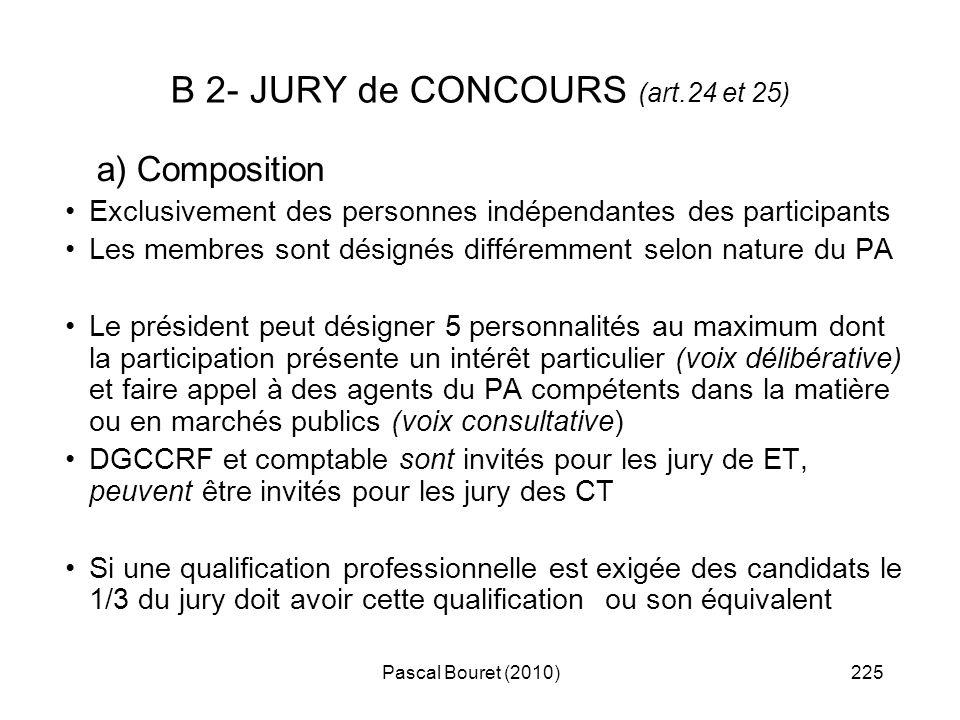 Pascal Bouret (2010)225 B 2- JURY de CONCOURS (art.24 et 25) a) Composition Exclusivement des personnes indépendantes des participants Les membres son