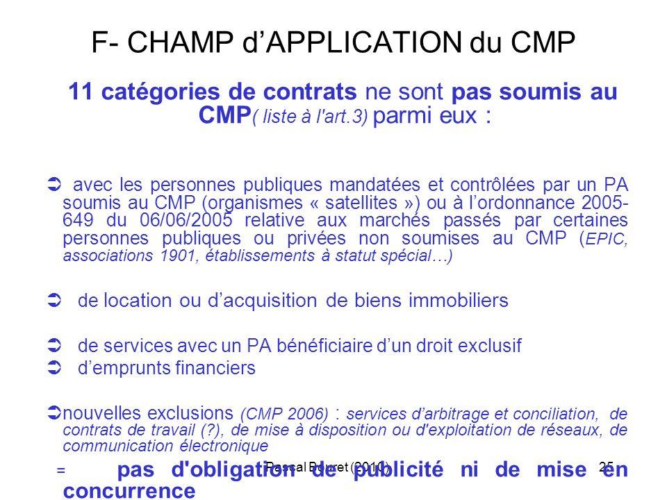 Pascal Bouret (2010)25 F- CHAMP dAPPLICATION du CMP 11 catégories de contrats ne sont pas soumis au CMP ( liste à l'art.3) parmi eux : avec les person