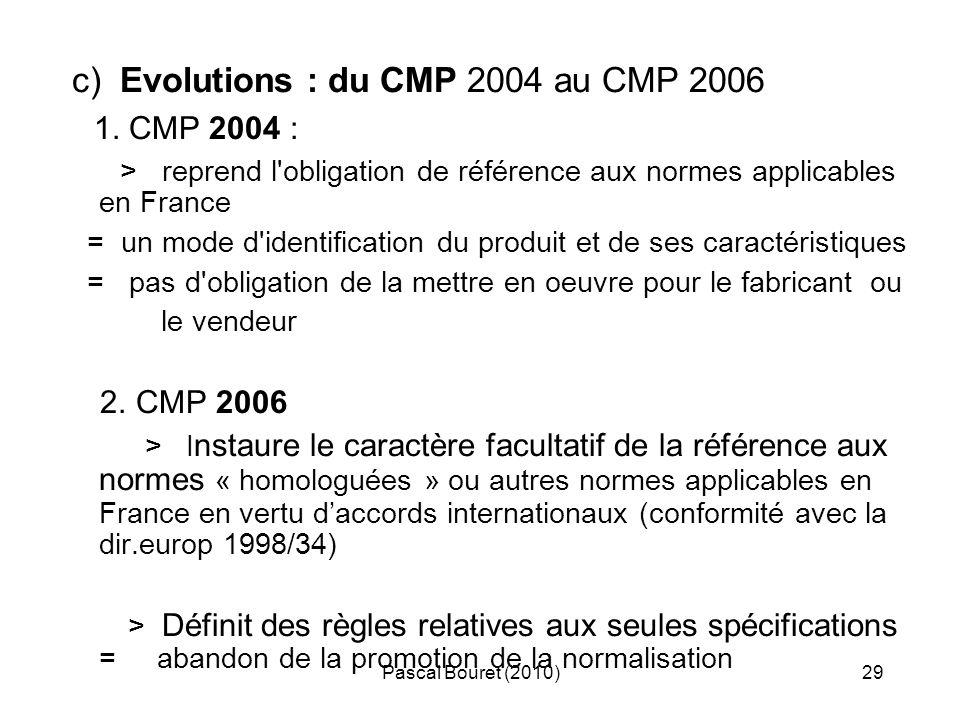 Pascal Bouret (2010)29 c) Evolutions : du CMP 2004 au CMP 2006 1. CMP 2004 : > reprend l'obligation de référence aux normes applicables en France = un