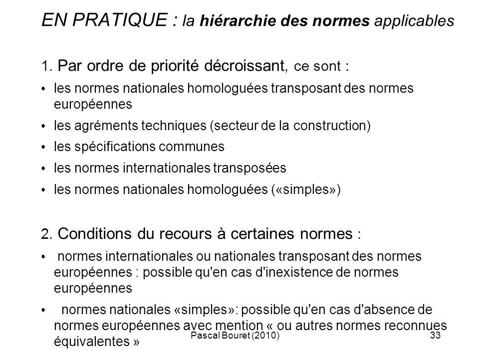 Pascal Bouret (2010)33 EN PRATIQUE : la hiérarchie des normes applicables 1. Par ordre de priorité décroissant, ce sont : les normes nationales homolo