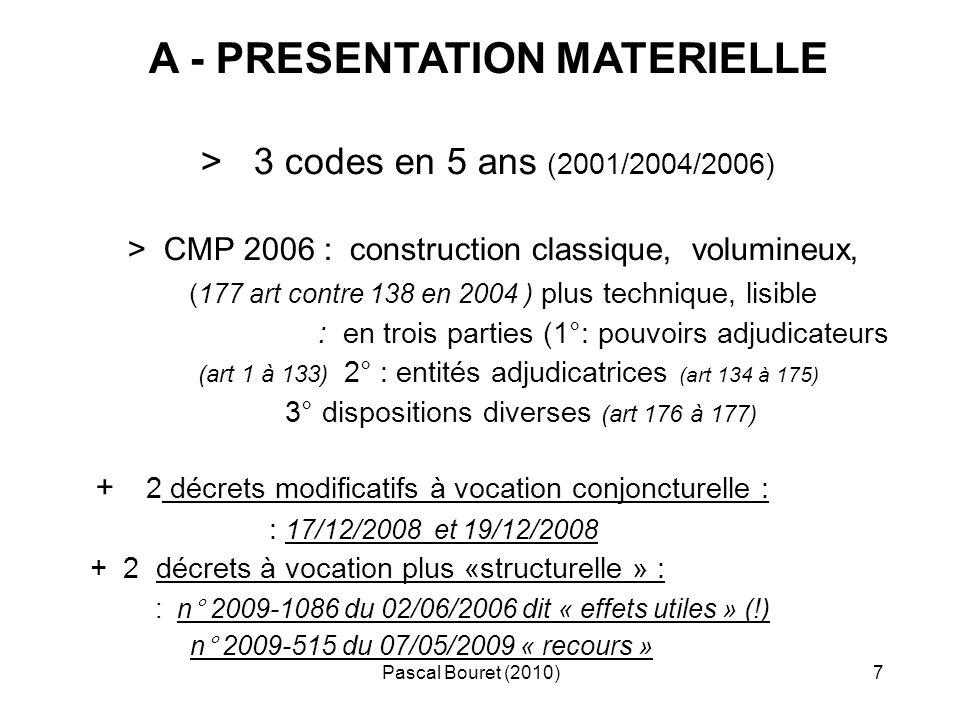 Pascal Bouret (2010)8 B - CONSEQUENCES de la PUBLICATION entrée en vigueur : 1/09/ 2006 (1 mois après publication) puis : 20/12/2008 pour les décrets de décembre 2008 (le lendemain de la publication !...) application dans le temps - 2006 : marchés notifiés avant le 1/09/2006 : CMP 2004 pour lexécution - marchés engagés avant le 1/09/2006 : CMP 2004 pour la passation + CMP 2006 pour lexécution - 2008 : aux marchés dont la consultation est lancée à/c du 1/01/2009 disparition de la P.R.M.