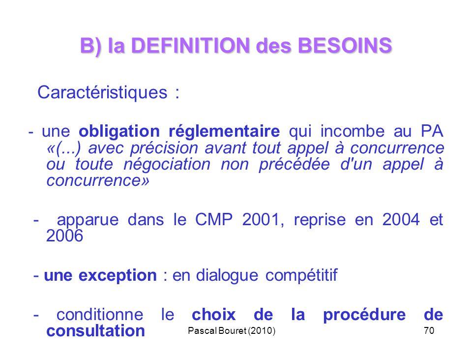 Pascal Bouret (2010)70 B) la DEFINITION des BESOINS Caractéristiques : - une obligation réglementaire qui incombe au PA «(...) avec précision avant to