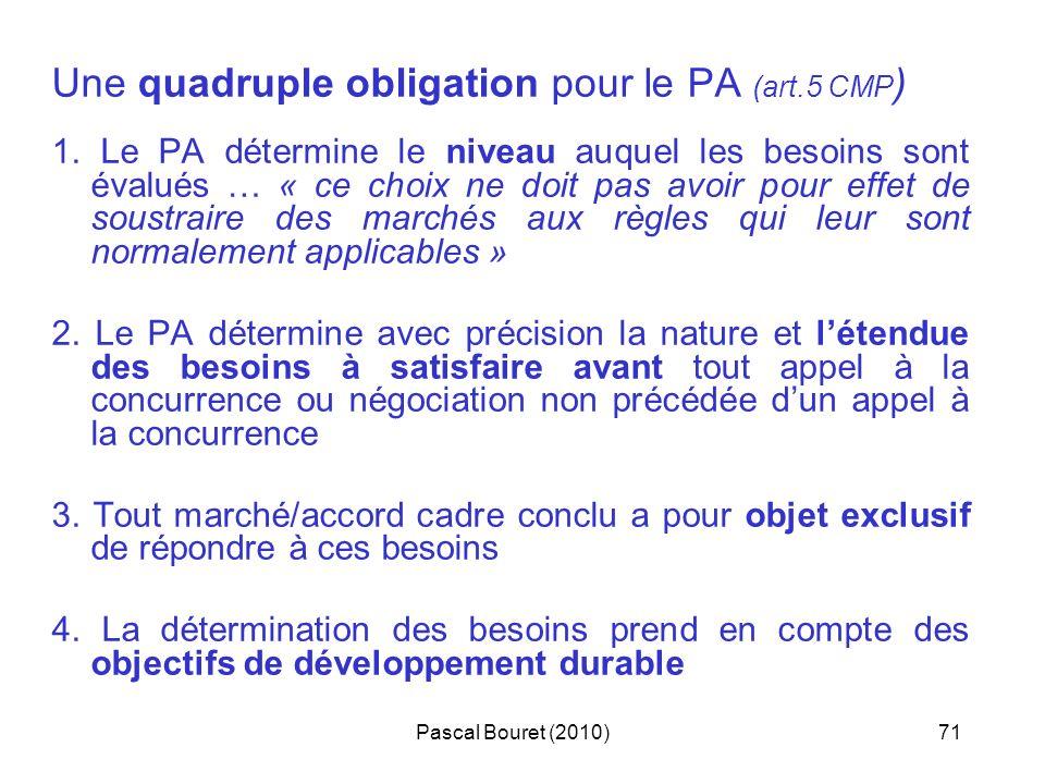 Pascal Bouret (2010)71 Une quadruple obligation pour le PA (art.5 CMP ) 1. Le PA détermine le niveau auquel les besoins sont évalués … « ce choix ne d