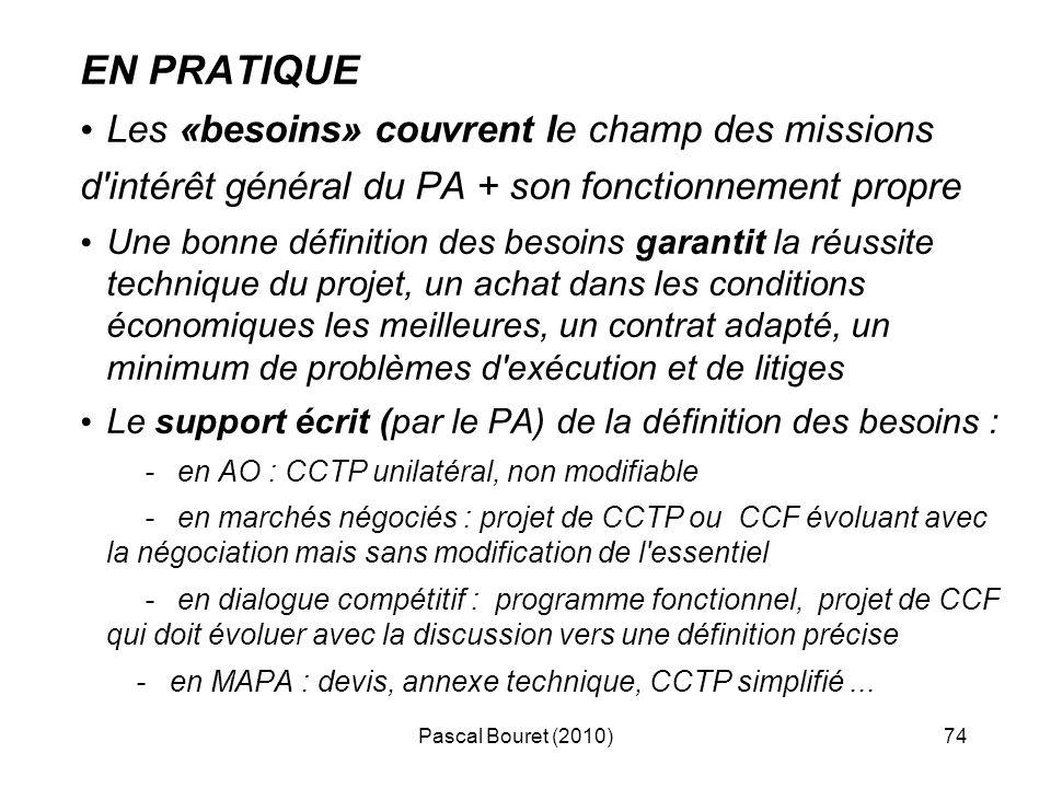 Pascal Bouret (2010)74 EN PRATIQUE Les «besoins» couvrent le champ des missions d'intérêt général du PA + son fonctionnement propre Une bonne définiti