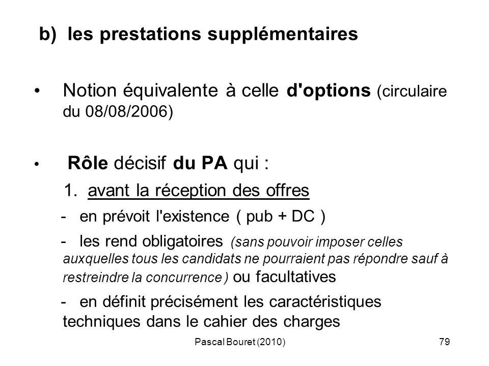 Pascal Bouret (2010)79 b) les prestations supplémentaires Notion équivalente à celle d'options (circulaire du 08/08/2006) Rôle décisif du PA qui : 1.