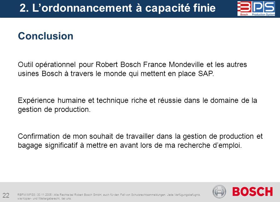 22 RBFM/MFG3 | 30.11.2005 | Alle Rechte bei Robert Bosch GmbH, auch für den Fall von Schutzrechtsanmeldungen. Jede Verfügungsbefugnis, wie Kopier- und