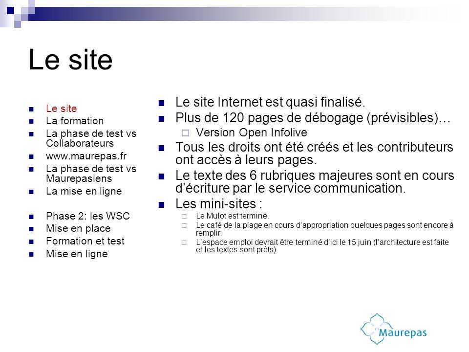 Le site La formation La phase de test vs Collaborateurs www.maurepas.fr La phase de test vs Maurepasiens La mise en ligne Phase 2: les WSC Mise en place Formation et test Mise en ligne Le site Internet est quasi finalisé.