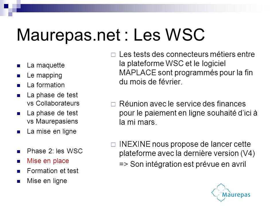 Les tests des connecteurs métiers entre la plateforme WSC et le logiciel MAPLACE sont programmés pour la fin du mois de février. Réunion avec le servi