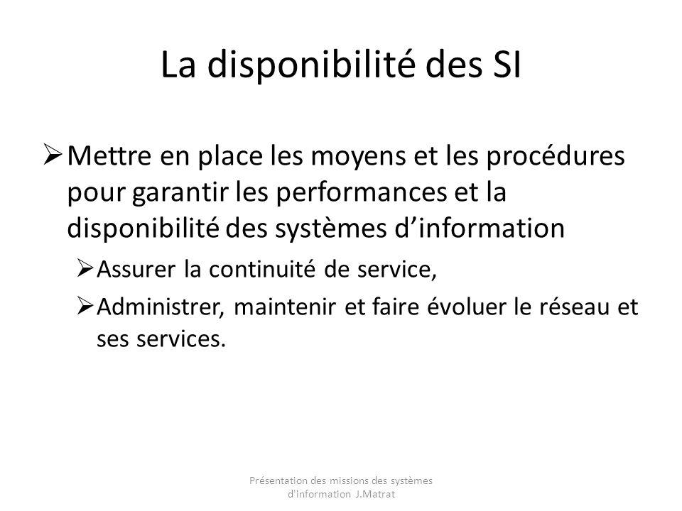 La disponibilité des SI Mettre en place les moyens et les procédures pour garantir les performances et la disponibilité des systèmes dinformation Assurer la continuité de service, Administrer, maintenir et faire évoluer le réseau et ses services.