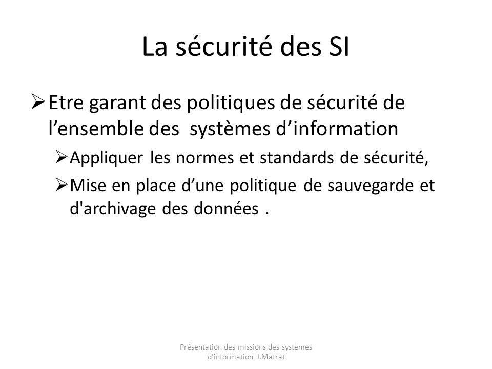La sécurité des SI Etre garant des politiques de sécurité de lensemble des systèmes dinformation Appliquer les normes et standards de sécurité, Mise en place dune politique de sauvegarde et d archivage des données.