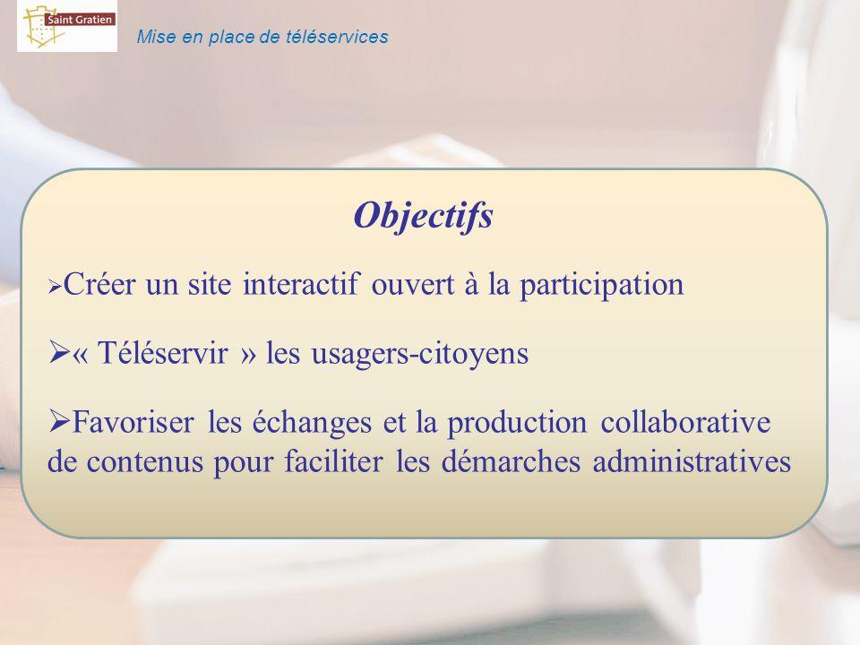 Mise en place de téléservices Objectifs Créer un site interactif ouvert à la participation « Téléservir » les usagers-citoyens Favoriser les échanges et la production collaborative de contenus pour faciliter les démarches administratives