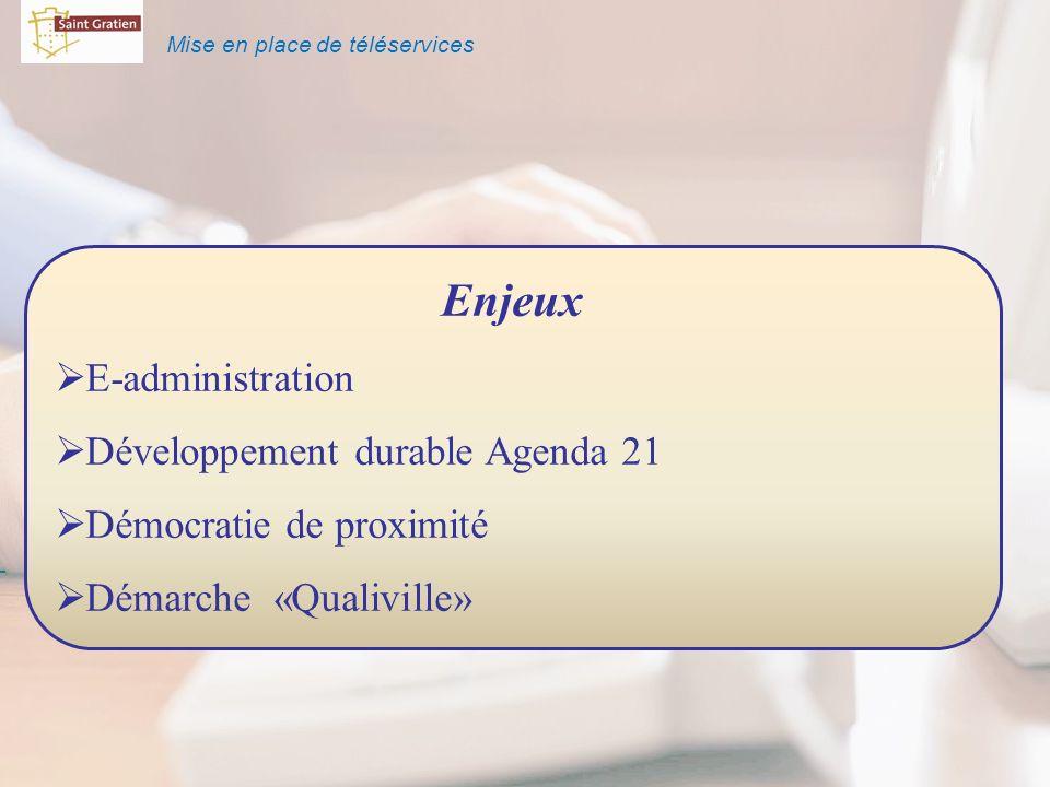 Mise en place de téléservices Enjeux E-administration Développement durable Agenda 21 Démocratie de proximité Démarche «Qualiville»