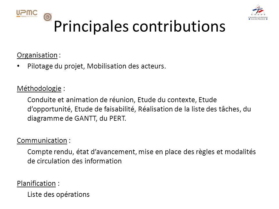 Principales contributions Organisation : Pilotage du projet, Mobilisation des acteurs.