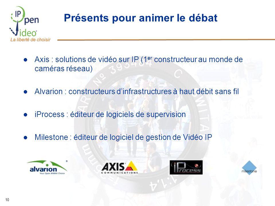 La liberté de choisir 10 Présents pour animer le débat Axis : solutions de vidéo sur IP (1 er constructeur au monde de caméras réseau) Alvarion : cons