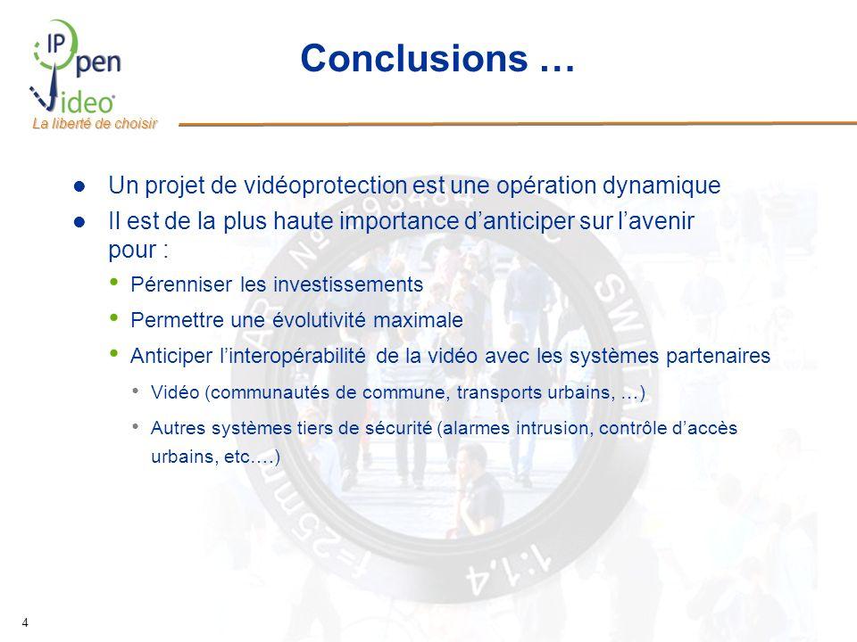 La liberté de choisir 4 Conclusions … Un projet de vidéoprotection est une opération dynamique Il est de la plus haute importance danticiper sur laven