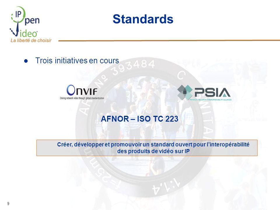 La liberté de choisir 9 Standards Trois initiatives en cours Créer, développer et promouvoir un standard ouvert pour linteropérabilité des produits de