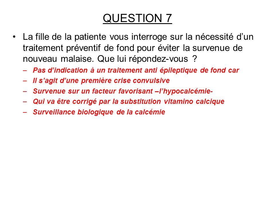 QUESTION 7 La fille de la patiente vous interroge sur la nécessité dun traitement préventif de fond pour éviter la survenue de nouveau malaise. Que lu