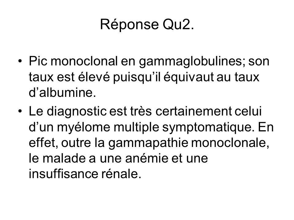 Réponse Qu2. Pic monoclonal en gammaglobulines; son taux est élevé puisquil équivaut au taux dalbumine. Le diagnostic est très certainement celui dun