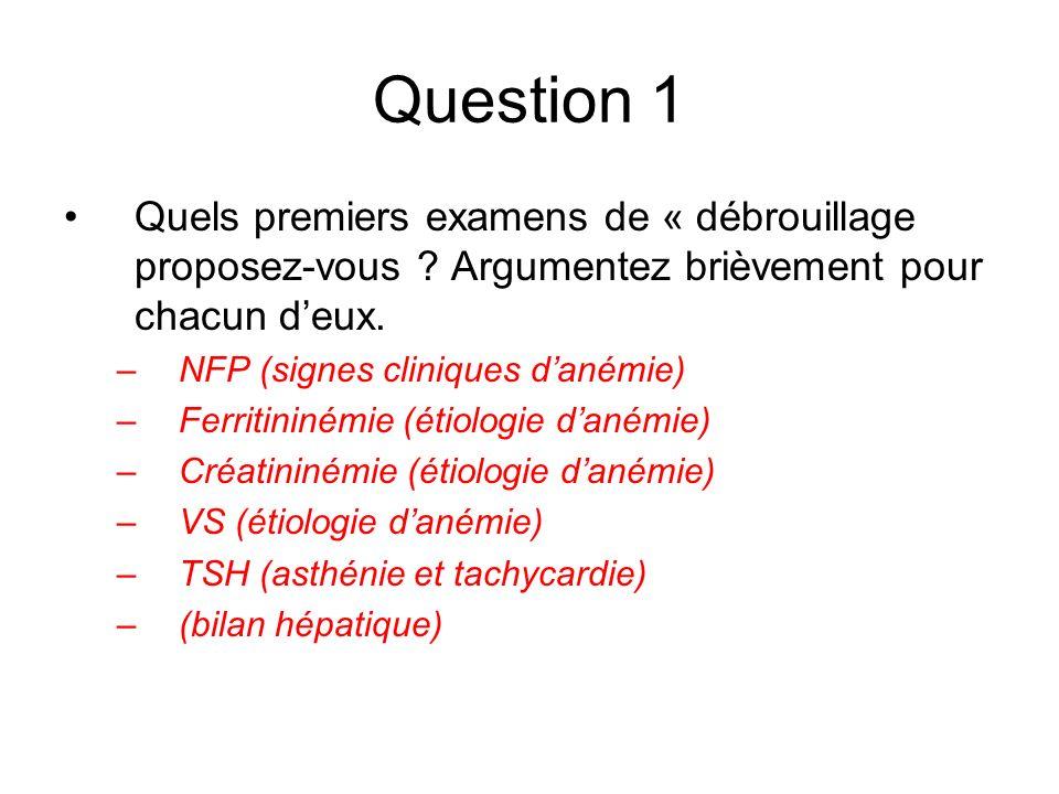 Question 1 Quels premiers examens de « débrouillage proposez-vous ? Argumentez brièvement pour chacun deux. –NFP (signes cliniques danémie) –Ferritini