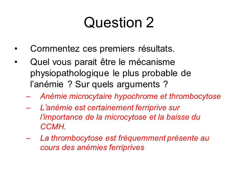 Question 2 Commentez ces premiers résultats. Quel vous parait être le mécanisme physiopathologique le plus probable de lanémie ? Sur quels arguments ?